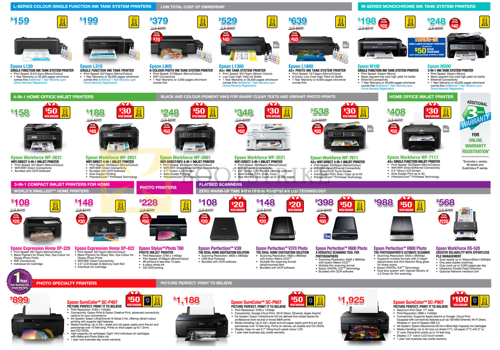 PC SHOW 2016 price list image brochure of Epson Printers, Scanners, L120, L310, L805, L1300, Workforce WF-2631, 2651, 2661, Expression Home XP-225, 422, Stylus Photo T60, Perfection V39, V370 Photo