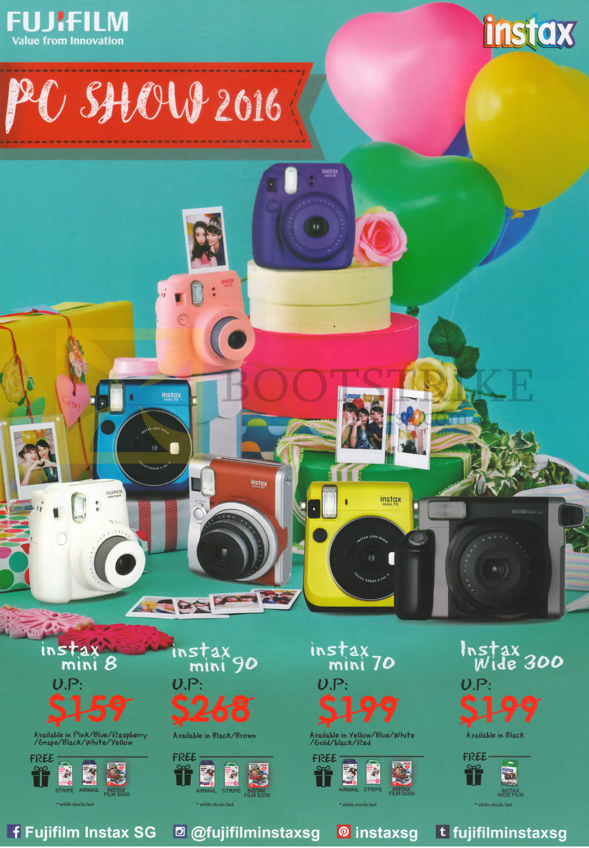 PC SHOW 2016 price list image brochure of Fujifilm Digital Cameras (No Prices) Instax Mini 8, 90, 70, Wide 300