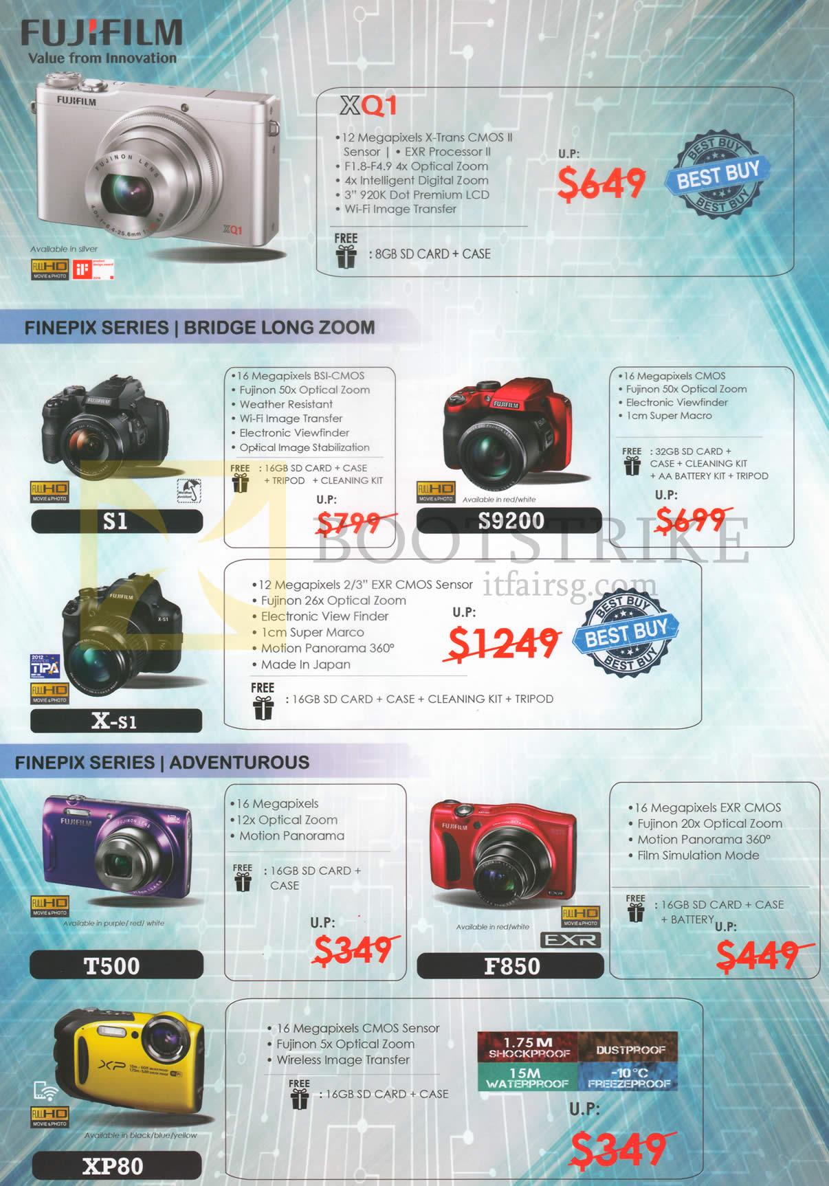 PC SHOW 2016 price list image brochure of Fujifilm Digital Cameras (No Prices) XQ1, S1, X-S1, S9200, T500, F850, XP80