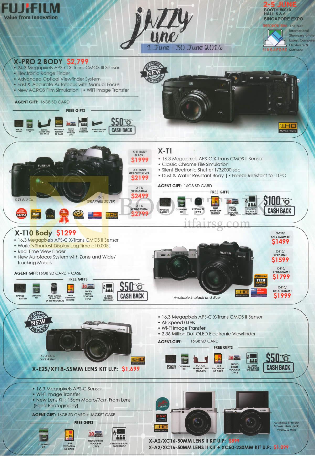 PC SHOW 2016 price list image brochure of Fujifilm Digital Cameras X Pro 2, X-T1, X-T10, X-E2S, X-A2