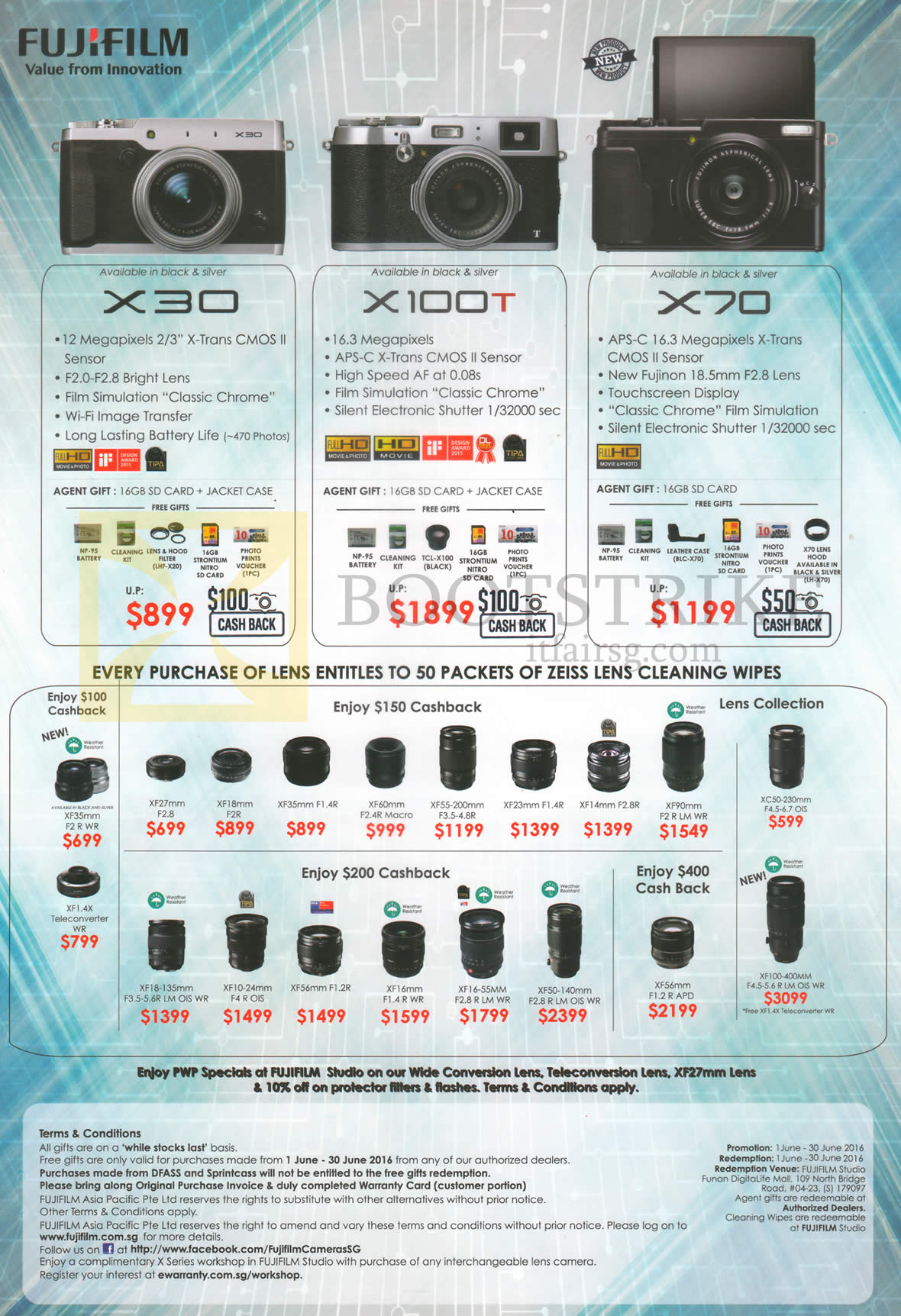PC SHOW 2016 price list image brochure of Fujifilm Digital Cameras X30, X100T, X70, Lenses