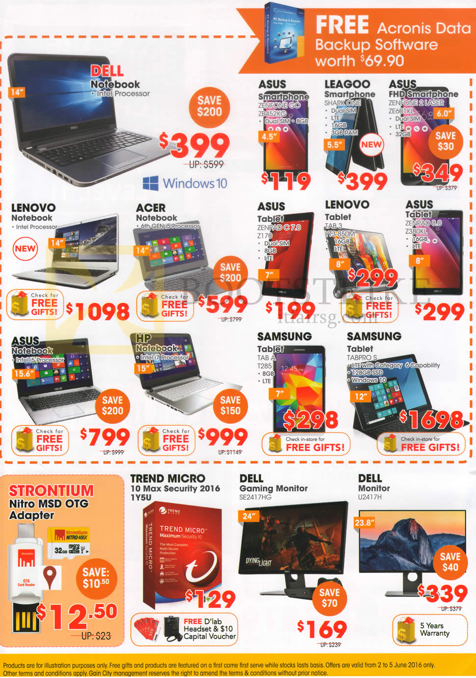 PC SHOW 2016 price list image brochure of Gain City Dell Notebooks, Tablets, Monitors, Software, Mobile Phones, Asus, Leagoo, Lenovo, Acer, Samsung, HP, Trend Micro, Strontium Adapter