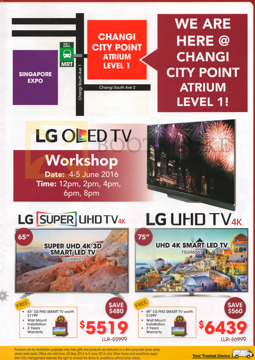 PC SHOW 2016 price list image brochure of Gain City TVs LG 65UH850T, 75UH656T