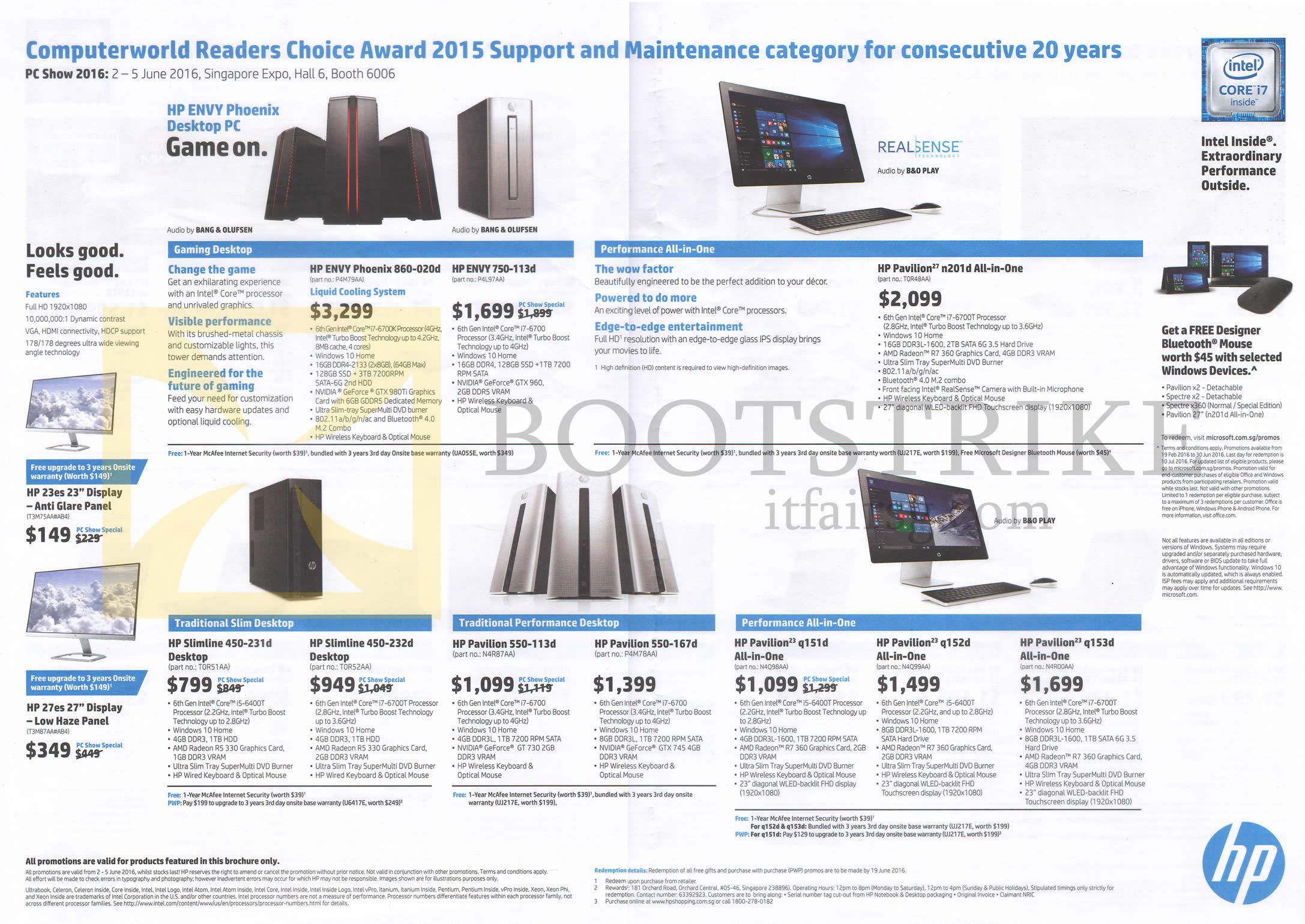 PC SHOW 2016 price list image brochure of HP Monitors, Desktop PCs Envy Phoenix 860-020d, 750-113d, Slimline 450-231d, 232d, Pavilion 550-113d, 167d, Q151d, Q152d, Q153d, N201, 23es, 27es