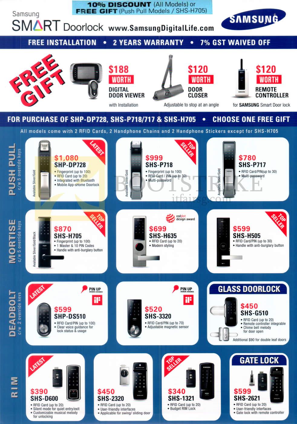 PC SHOW 2016 price list image brochure of Hanman Samsung Doorlocks SHP-DP728, SHS-P718, P717, H705, H635, H505, DS510, 3320, G510, D600, 2320, 1321, 2621