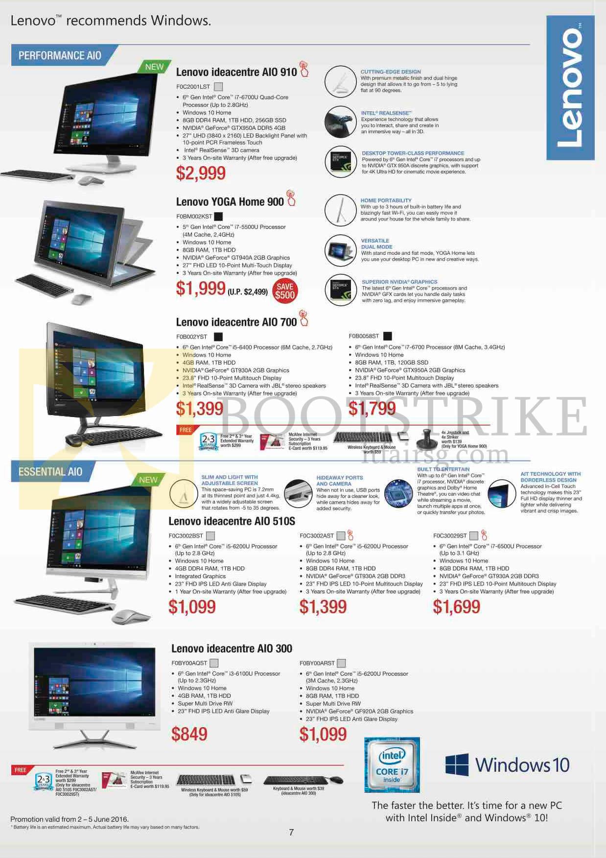 PC SHOW 2016 price list image brochure of Lenovo Desktop PC AIO Ideacentre AIO 910, Yoga Home 900, AIO 700, AIO 510S, AIO 300