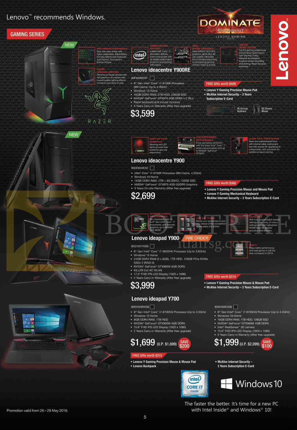 PC SHOW 2016 price list image brochure of Lenovo Desktop PCs Notebooks Gaming Ideacentre Y900RE, Y900, Ideapad Y900, Y700