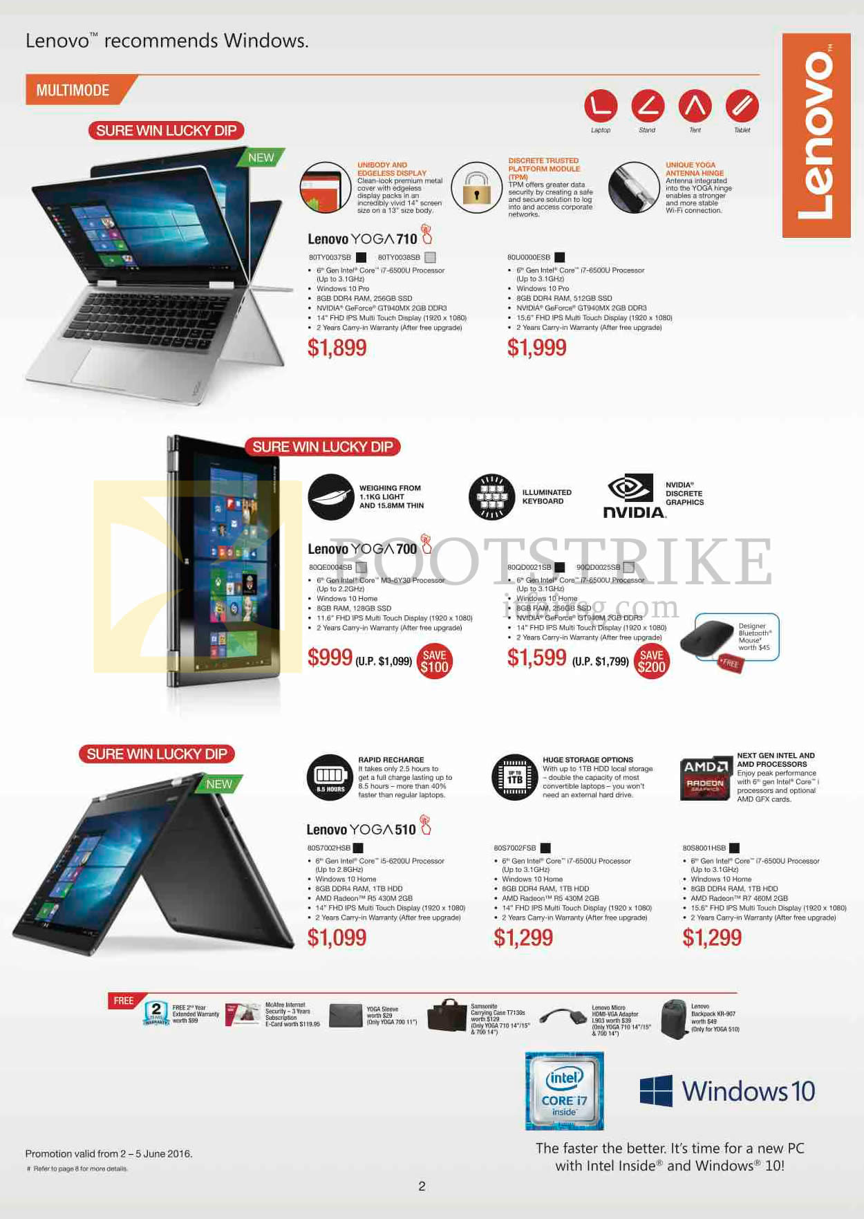 PC SHOW 2016 price list image brochure of Lenovo Notebooks Yoga 710, Yoga 700, Yoga 510