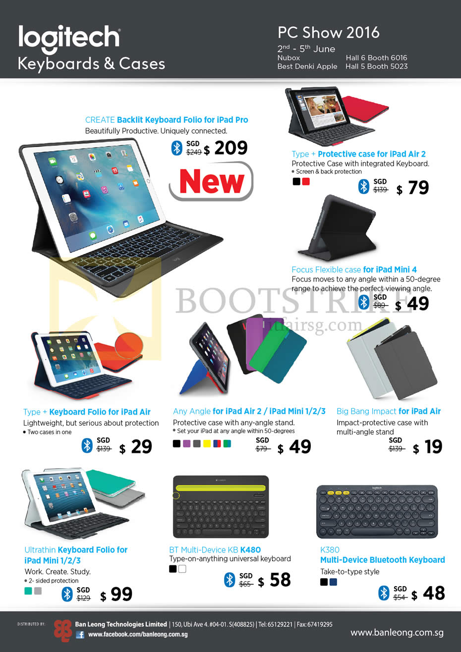 PC SHOW 2016 price list image brochure of Logitech Keyboards Cases, IPad Pro, IPad Mini, Folio, Keyboards K480 K380