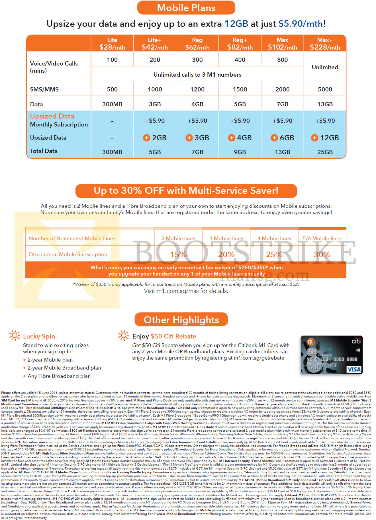 PC SHOW 2016 price list image brochure of M1 Mobile Plans, Multi-Service Saver, Other Highlights, Lite, Plus, Reg, Plus, Max, Plus, Lucky Spin, 50 Dollar Citi Rebate