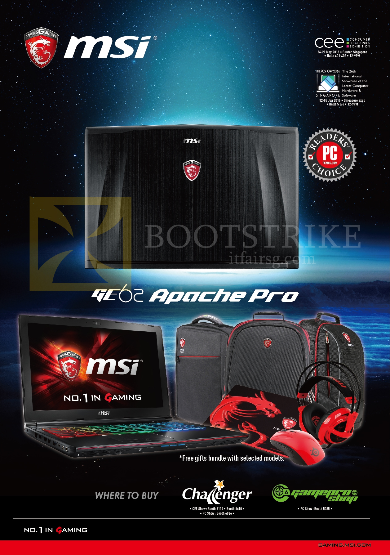 PC SHOW 2016 price list image brochure of MSI Notebooks GE62 Apache Pro, Booth Locations, Challenger, Gamepro