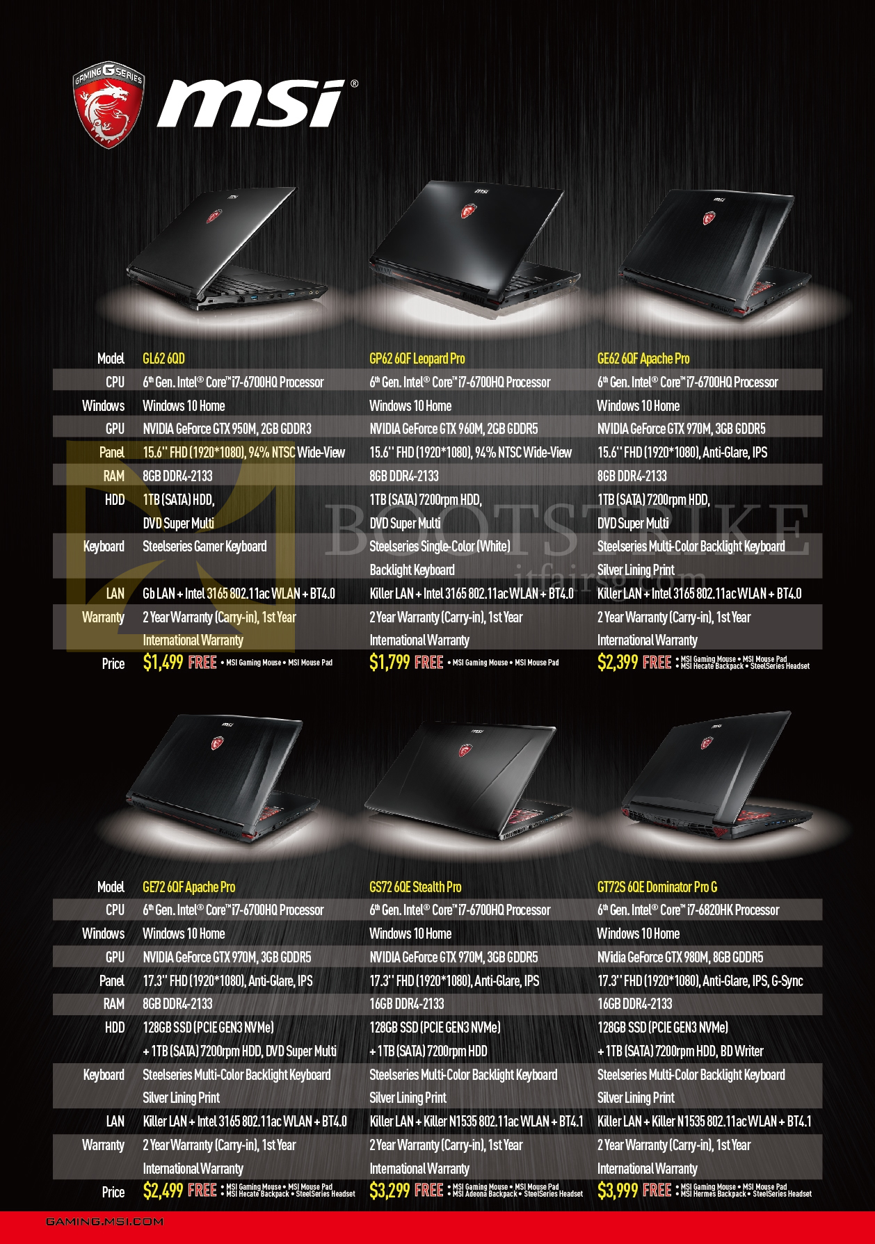 PC SHOW 2016 price list image brochure of MSI Notebooks GL62 6QD, GP62 6QF Leopard Pro, GE62 6QF Apache Pro, GE72 6QF Apache Pro, GS72 6QE Stealth Pro, GT72S 6QE Dominator Pro G