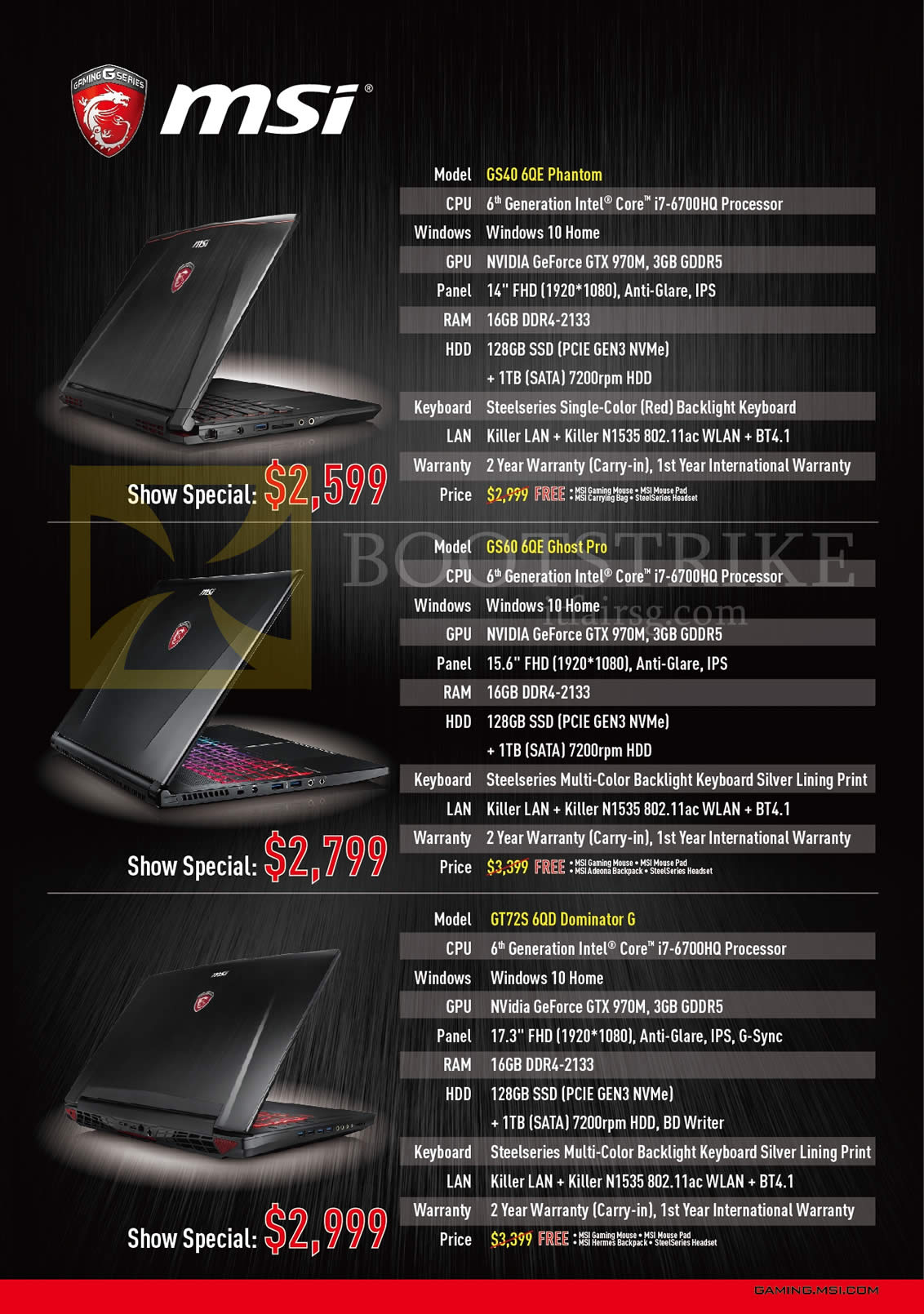 PC SHOW 2016 price list image brochure of MSI Notebooks GS40 6QE Phantom, GS60 6QE Ghost Pro, GT72S 6QD Dominator G