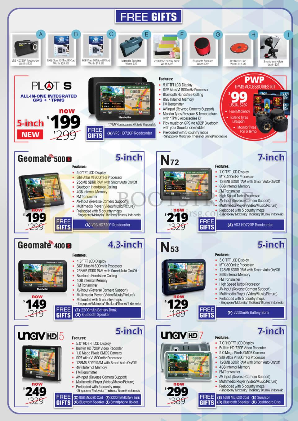 PC SHOW 2016 price list image brochure of Maka GPS Marbella Navigators Pilot S, Geomate 500S, 400S, N72, N53, Unav HD5, HD7
