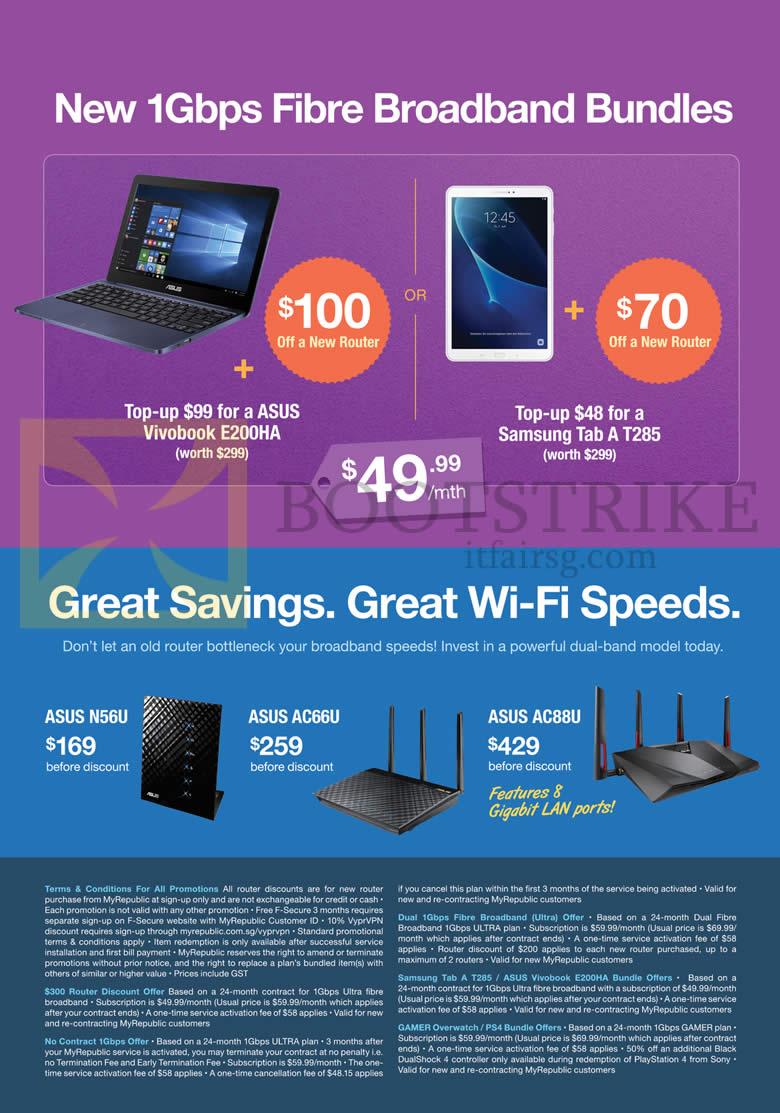 PC SHOW 2016 price list image brochure of MyRepublic Fibre Broadband 1Gbps Bundles Asus Vivobook E200HA, Samsung Tab A T285, Asus N56U, AC66U, AC88U Router