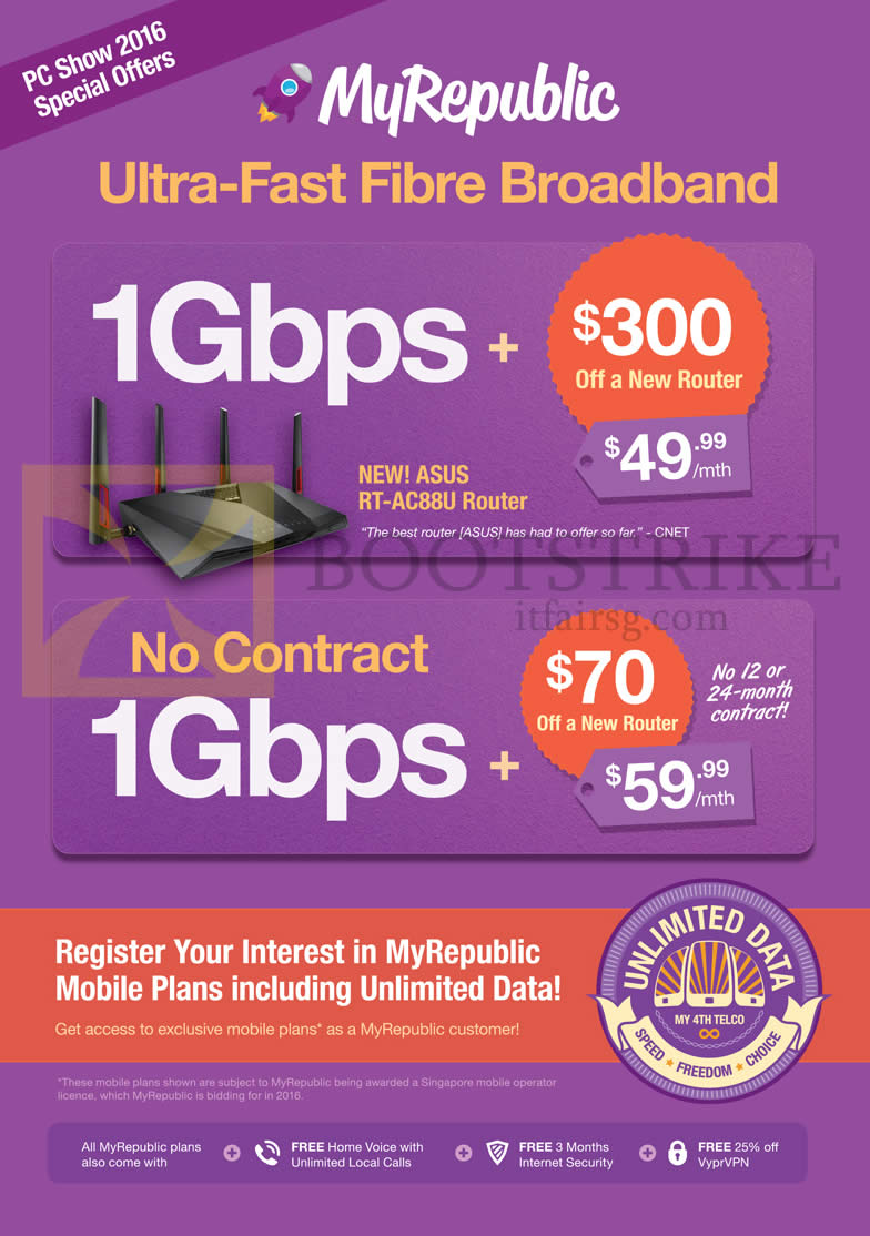 PC SHOW 2016 price list image brochure of MyRepublic Fibre Broadband 49.99 1Gbps, 59.99 No Contract 1Gbps Fibre Broadband, Asus RT-AC88U Router