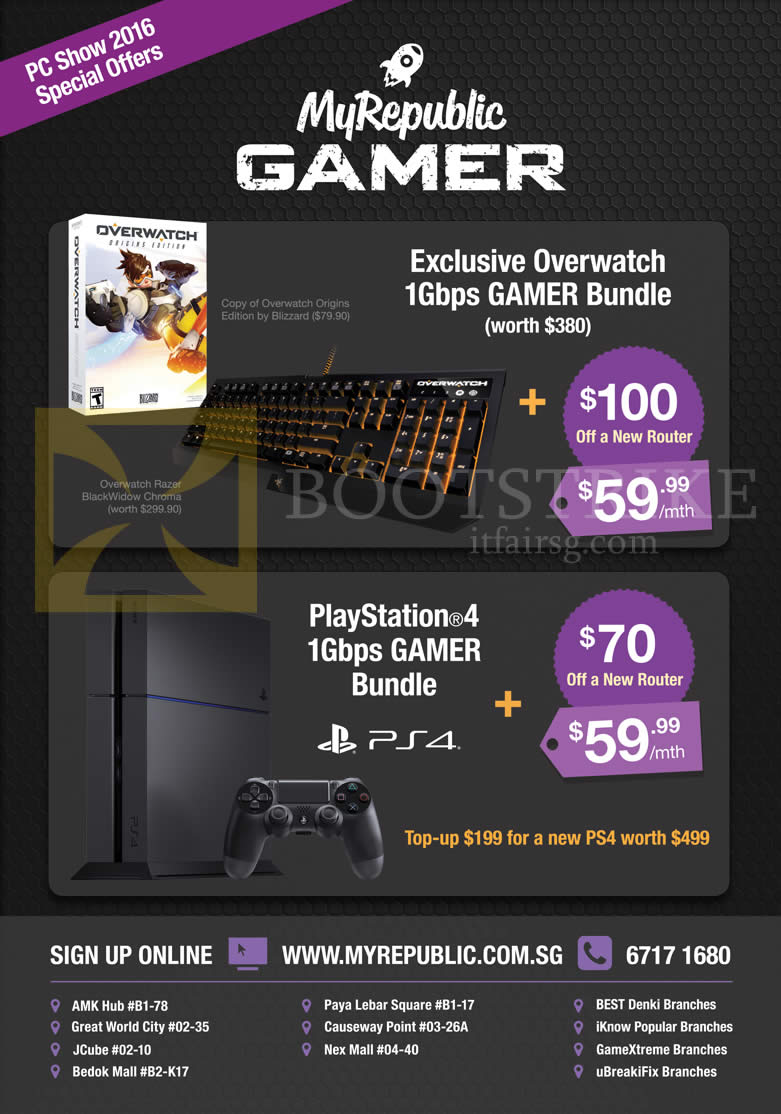 PC SHOW 2016 price list image brochure of MyRepublic Fibre Broadband 59.99 1Gbps Gamer Bundle