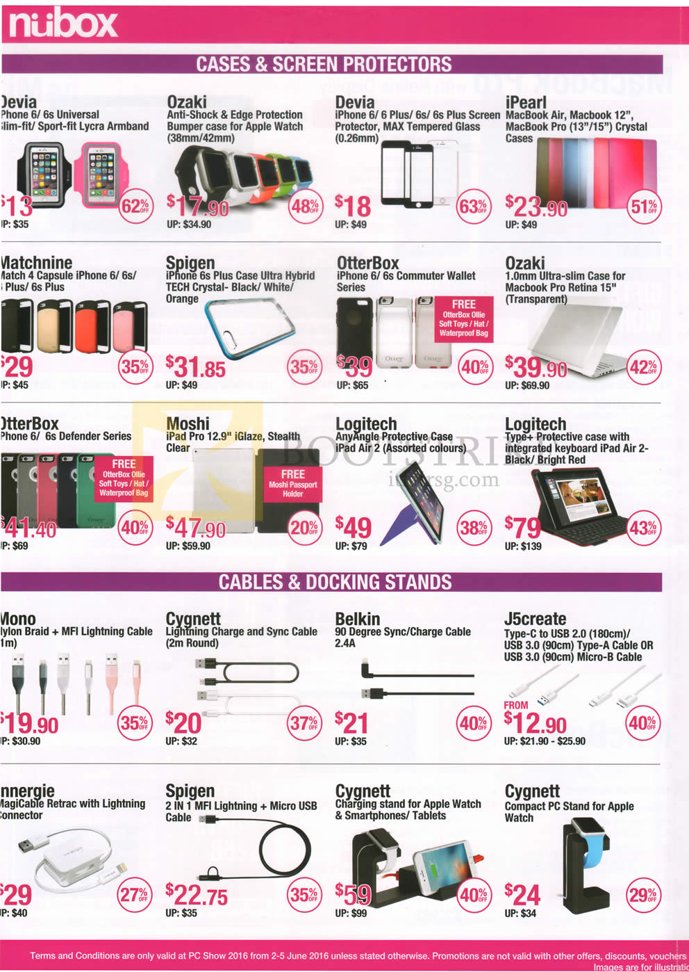 PC SHOW 2016 price list image brochure of Nubox Accessories Armbands, Apple Watch Cases, IPhone Screen Protectors, Macbook Cases, IPhone Cases, Cables, USB Adaptors, Charging Stands, Apple Watch PC Stand Devia