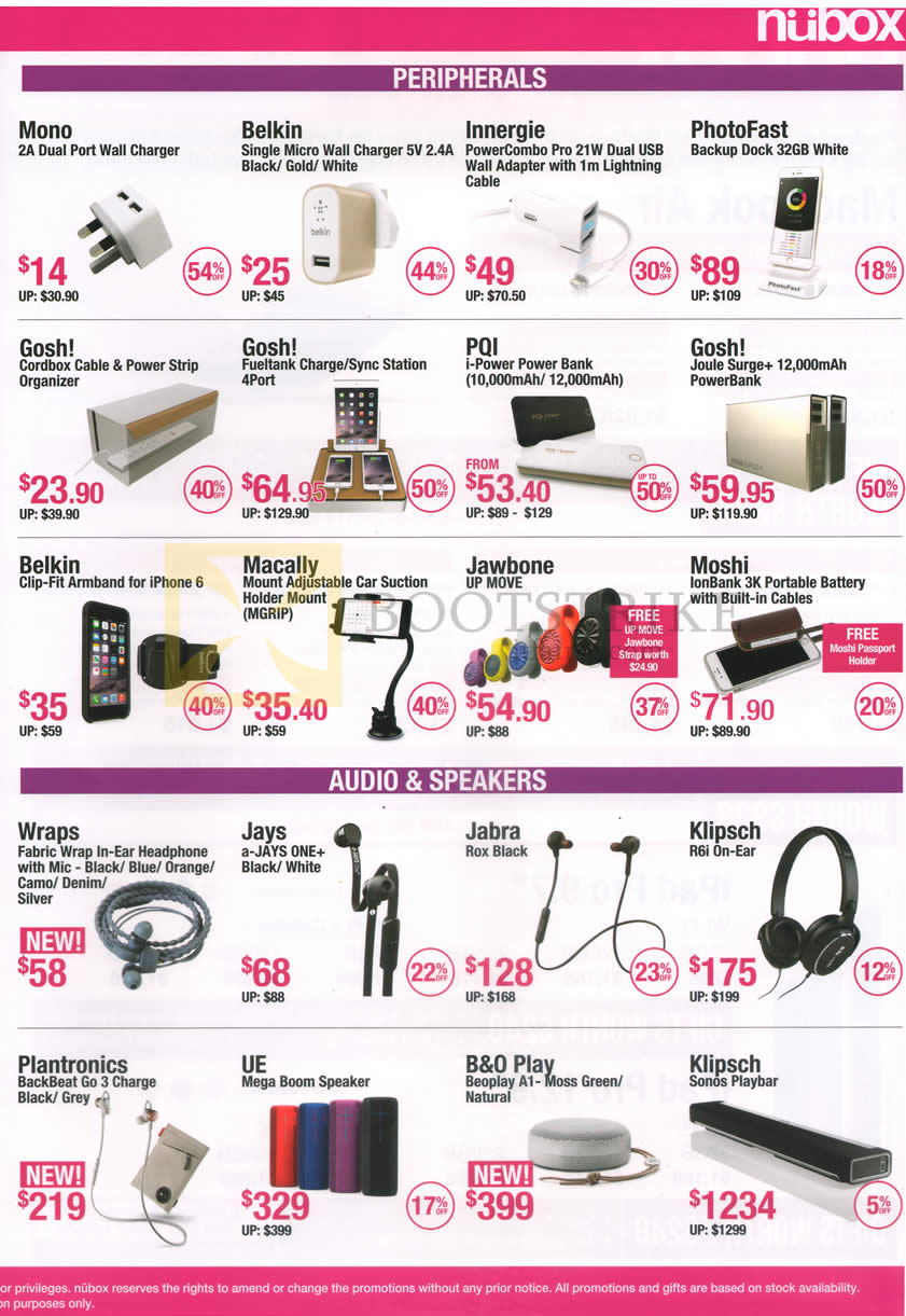 PC SHOW 2016 price list image brochure of Nubox Accessories Chargers, Backup Dock, Cable Organizer, Power Banks, Armbands, Car Holders, Watch, Headphones, Speakers Mono, Belkin, Innergie, PhotoFast, Gosh