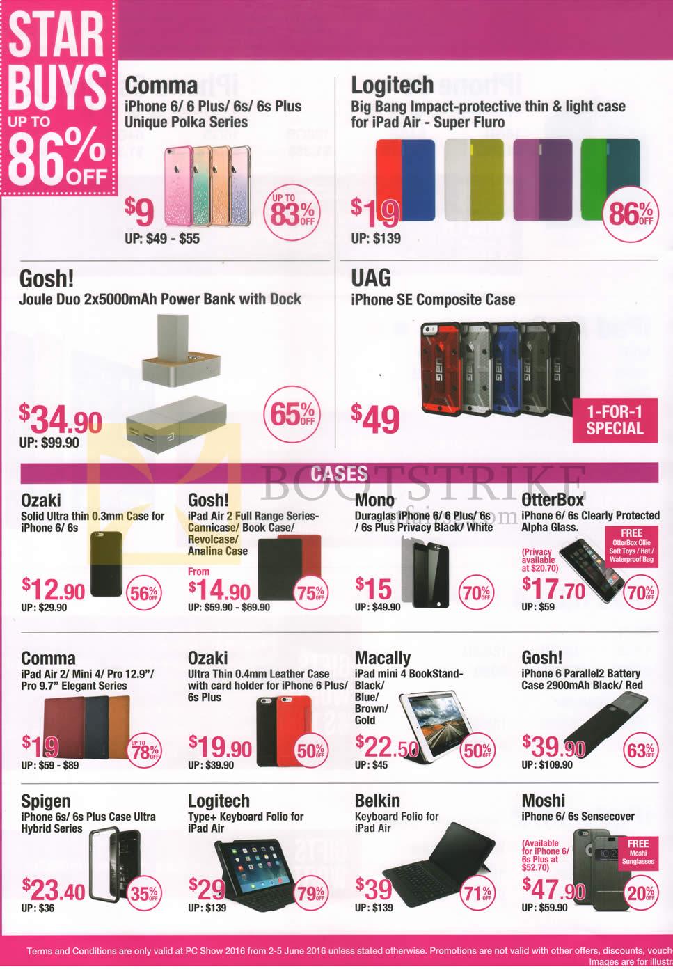 PC SHOW 2016 price list image brochure of Nubox Accessories IPhone Casings, IPad Casings, Power Banks, IPhone Screen Protectors Comma, Logitech, Gosh, UAG, Ozaki, Mono, Otterbox, Macally, Spigen, Belkin, Moshi