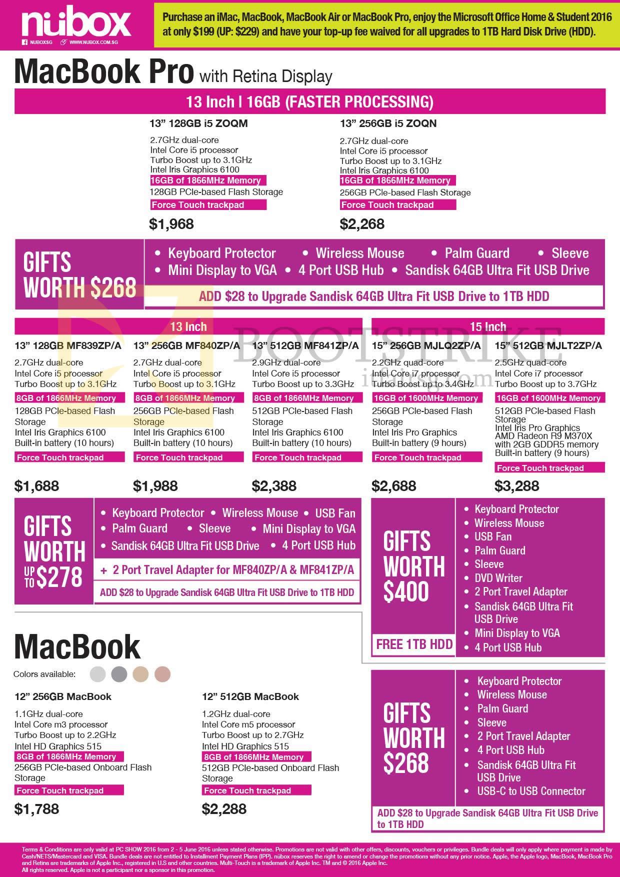 PC SHOW 2016 price list image brochure of Nubox Apple Macbook Pro With Retina Display Notebook Macbook