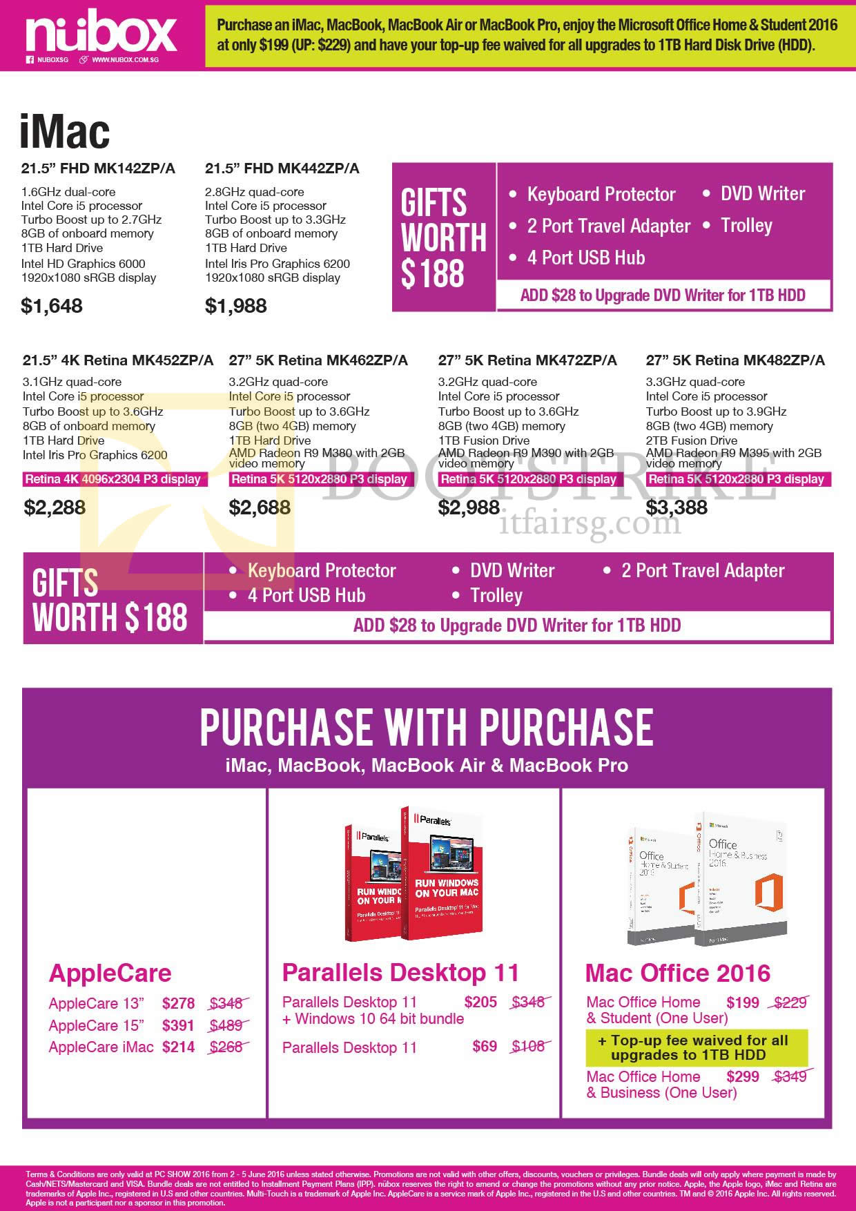 PC SHOW 2016 price list image brochure of Nubox Apple IMac Desktop PC, Purchase With Purchase Parallels, Office