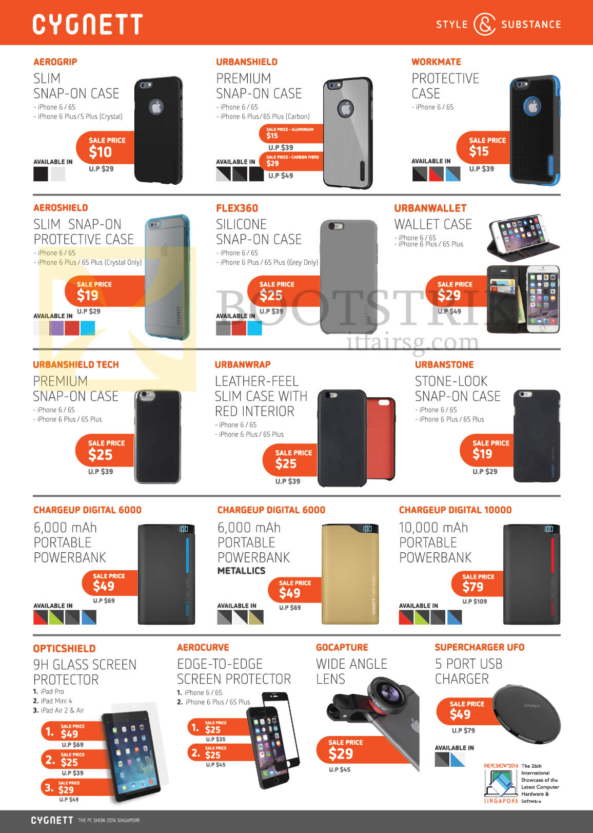 PC SHOW 2016 price list image brochure of Nubox Cygnett Cases, Protectors, Lenses, USB Charger, Aerogrip, Urbanshield, Workmate, Flex360, Urbanwrap, Chargeup Digital 6000, Opticshield, Gocapture, Supercharger UFO