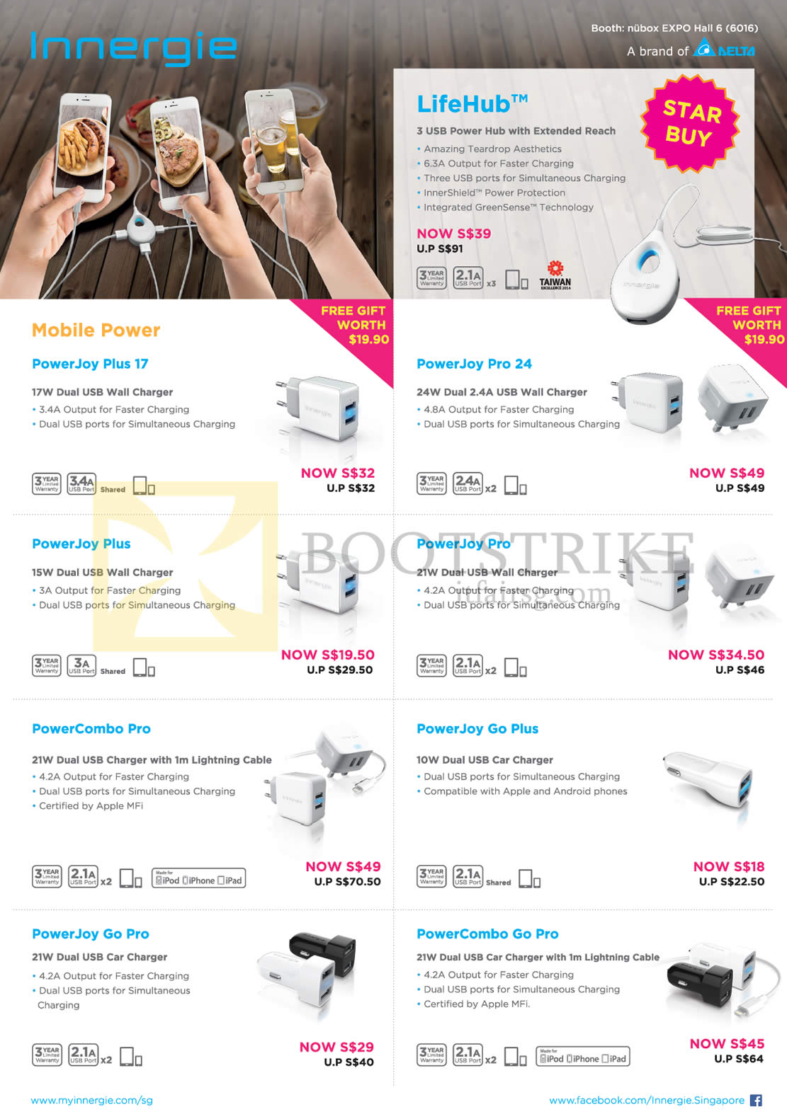 PC SHOW 2016 price list image brochure of Nubox Innergie USB Power Hub LifeHub, Power Joy Plus 17, Pro 24, Plus, Pro, PowerCombo Pro, PowerJoy Go Plus, Go Pro