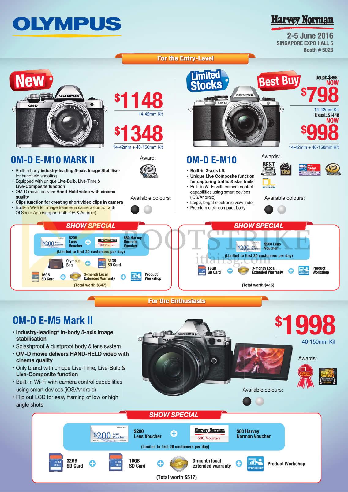 PC SHOW 2016 price list image brochure of Olympus Digital Cameras OM-D E-M10 Mark II, OM-D E-M10, OM-D E-M5 Mark II