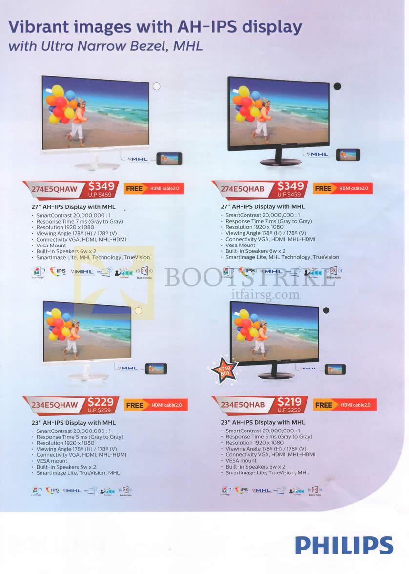PC SHOW 2016 price list image brochure of Philips Monitors 274E5QHAW, 274E5QHAB, 234E5QHAW, 234E5QHAB