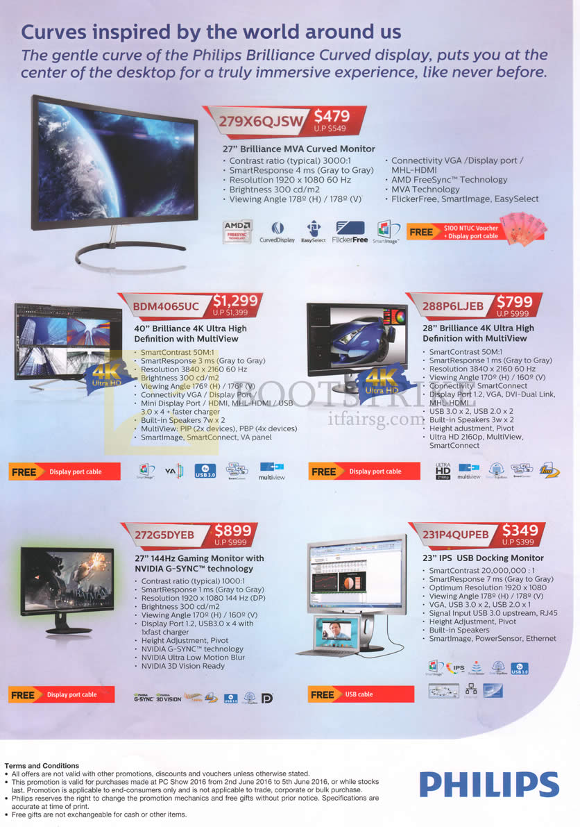 PC SHOW 2016 price list image brochure of Philips Monitors 279X6QJSW, BDM4065UC, 288P6LJEB, 272G5DYEB, 231P4QUPEB