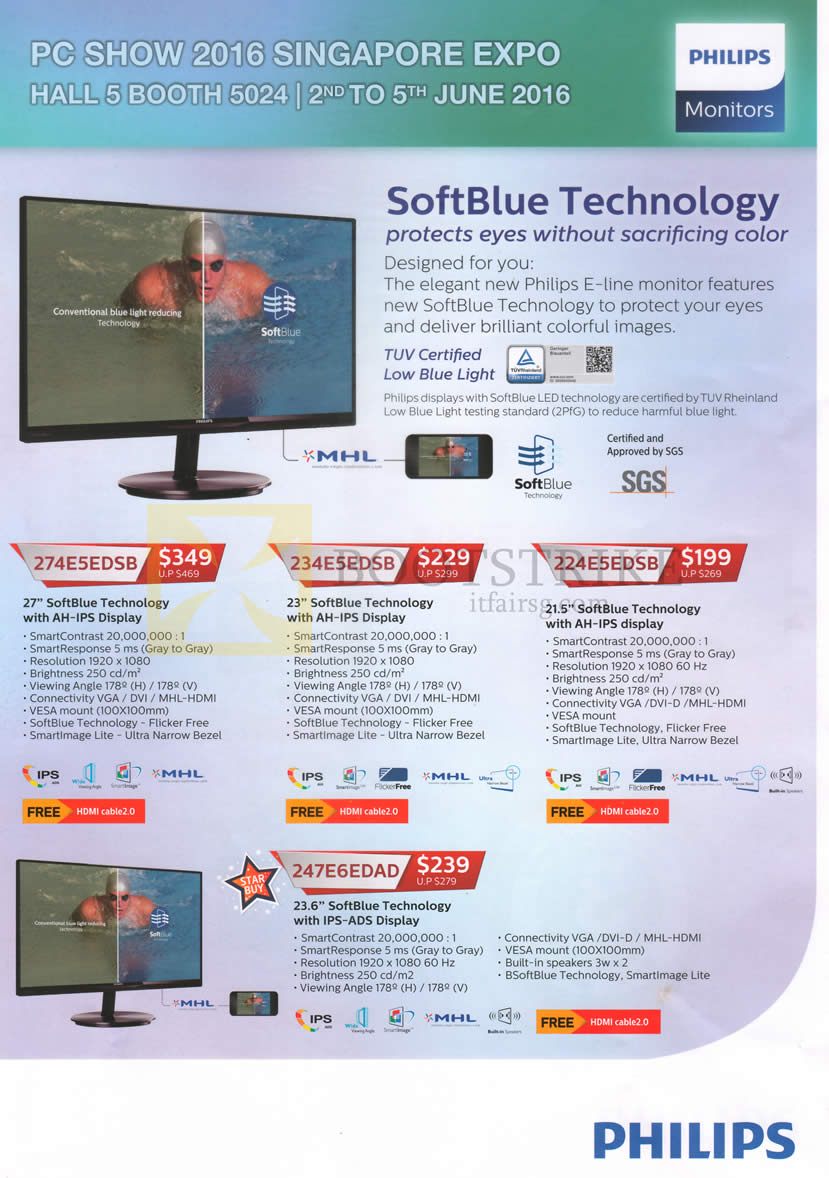 PC SHOW 2016 price list image brochure of Philips Monitors IPS 274E5EDSB, 234E5EDSB, 224E5EDSB, 247E6EDAD
