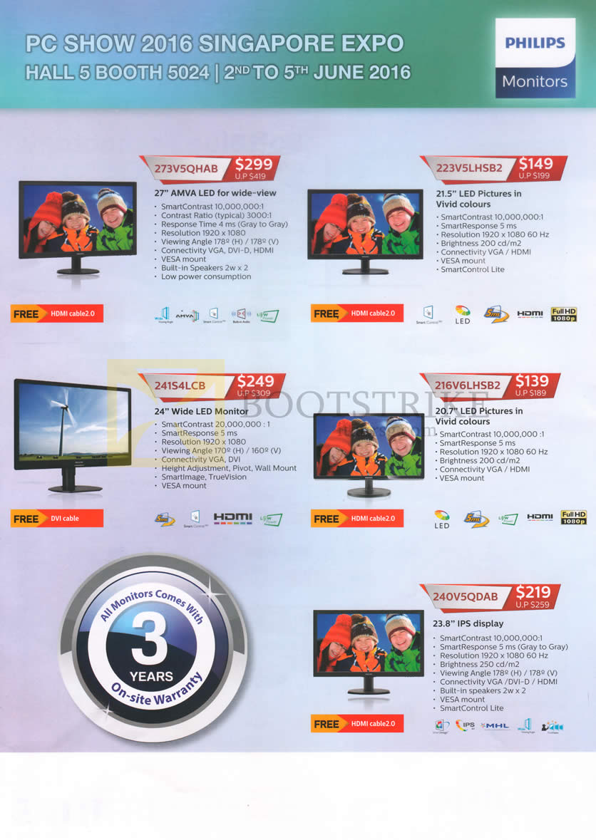 PC SHOW 2016 price list image brochure of Philips Monitors LED 273V5QHAB, 223V5LHSB2, 241S4LCB, 216V6LHSB2, 240V5QDAB