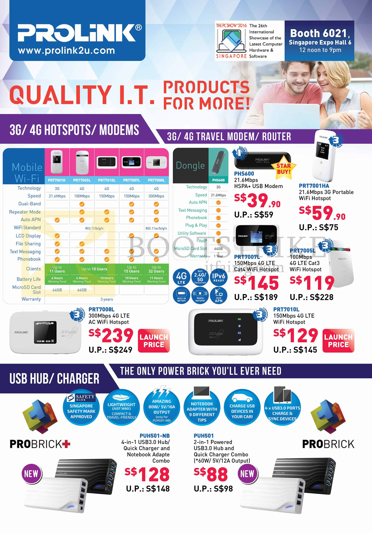 PC SHOW 2016 price list image brochure of Prolink 3G, 4G Hotspots, Modems, USB Hubs, Charger, Travel Modem, Router, PHS600, PRT7001HA, 7007L, 7005L, 7010L, PUH501-NB, 501