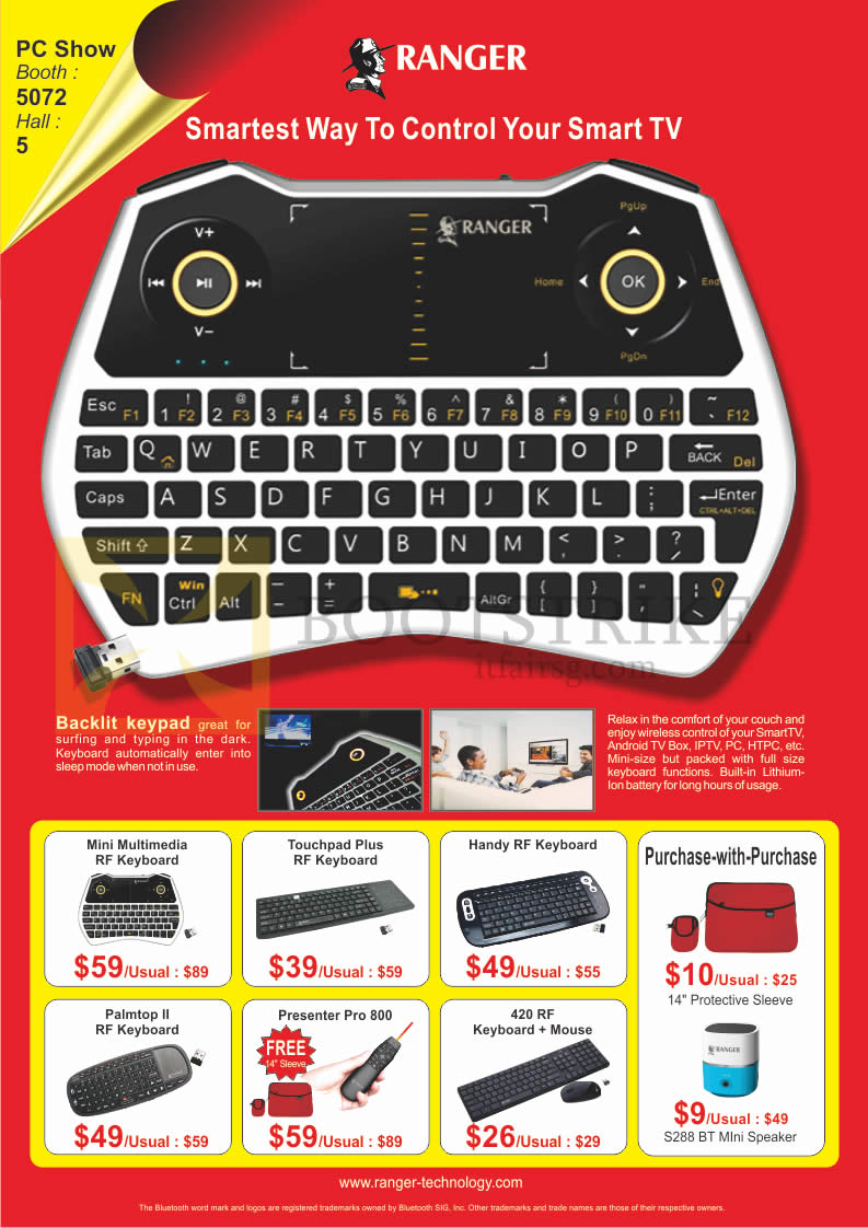 PC SHOW 2016 price list image brochure of Ranger Wireless Keyboards Mini Multimedia RF, Touchpad Plus RF, Handy RF, Palmtop II, Presenter Pro 800, 420RF