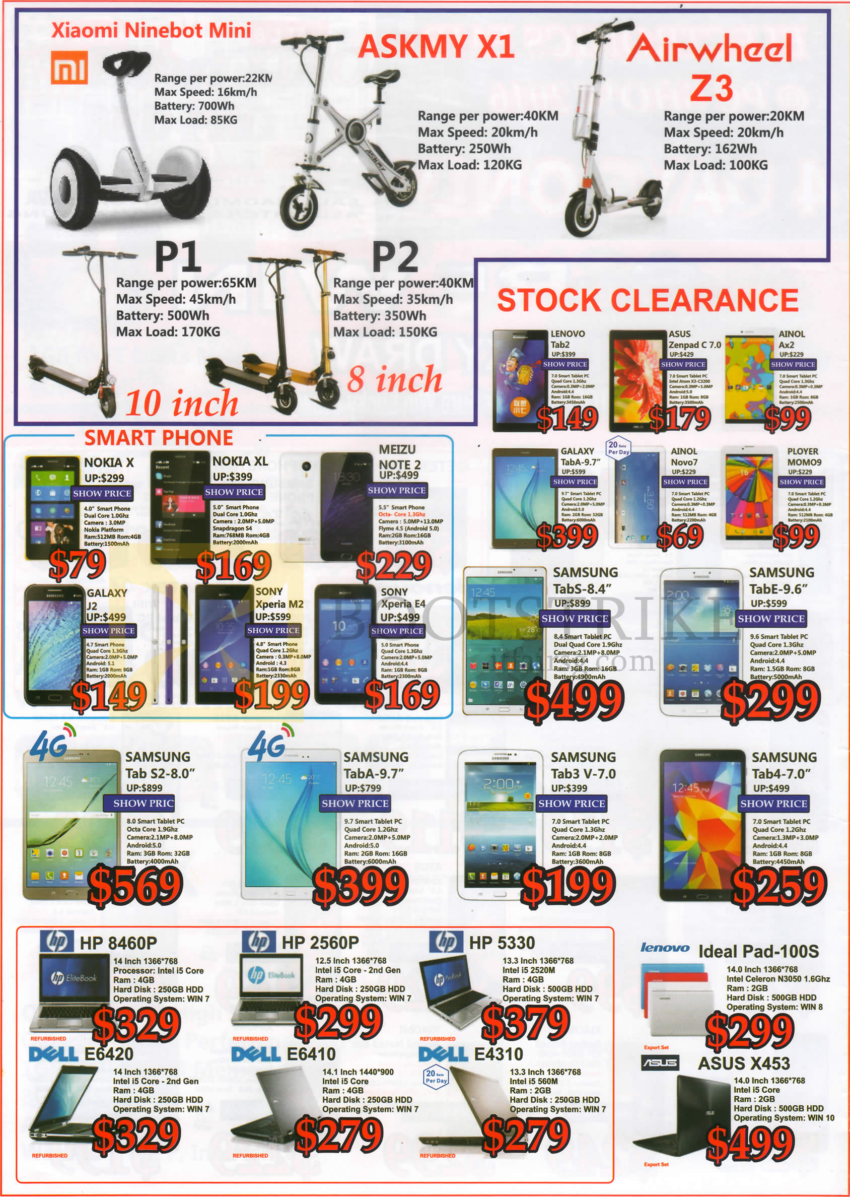 PC SHOW 2016 price list image brochure of SGVideoPro E-Scooters Smartphones Tablets Notebooks Xiaomi, ASKMY, Airwheel, P1, P2, Lenovo, Asus, Ainol, Galaxy, Ployer, Samsung, Meizu, Sony, Nokia, Dell, HP