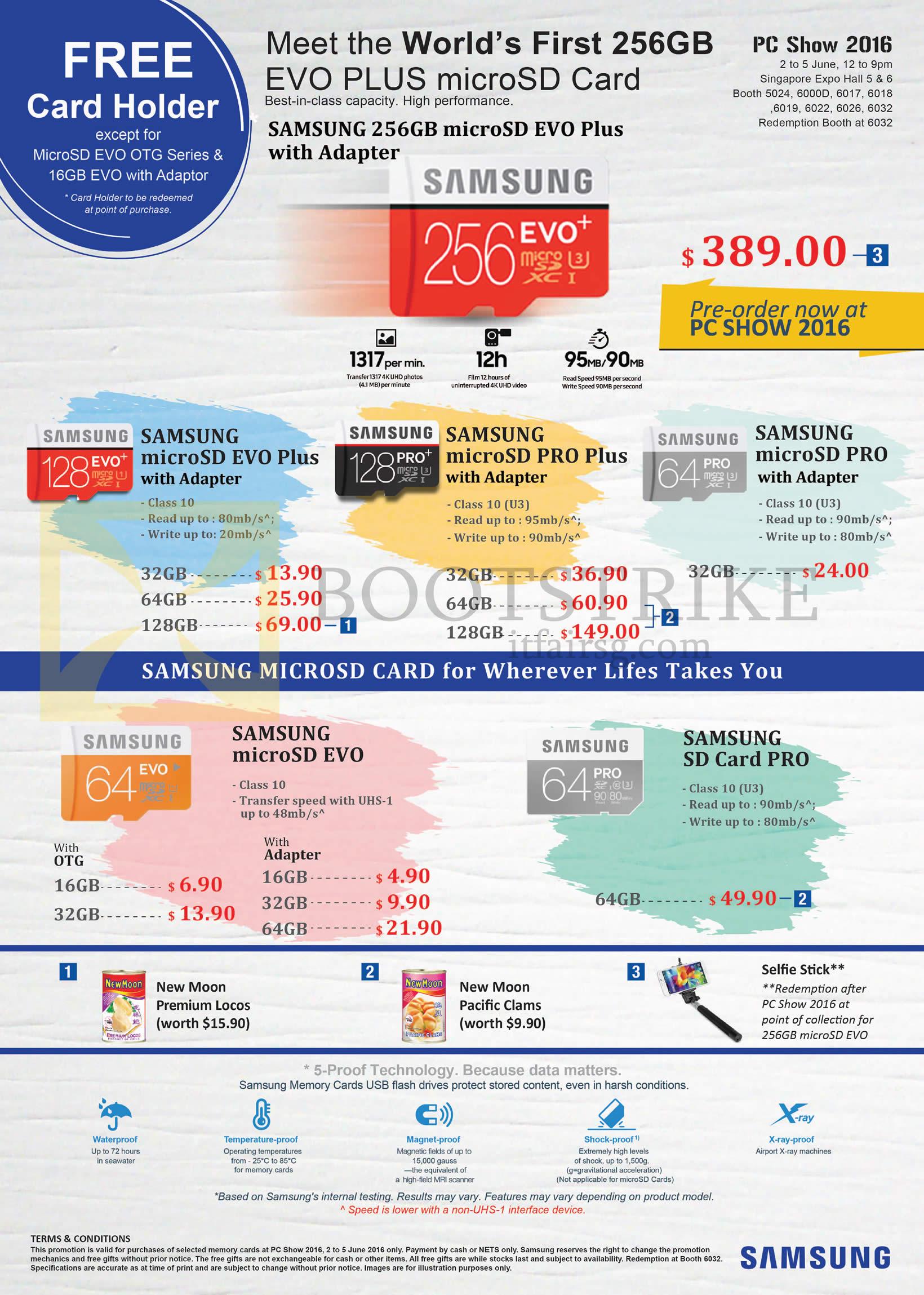 PC SHOW 2016 price list image brochure of Samsung Flash Memory Cards SD MicroSD Evo, Pro Plus, MicroSD EVO, SD Card PRO, Free Gifts