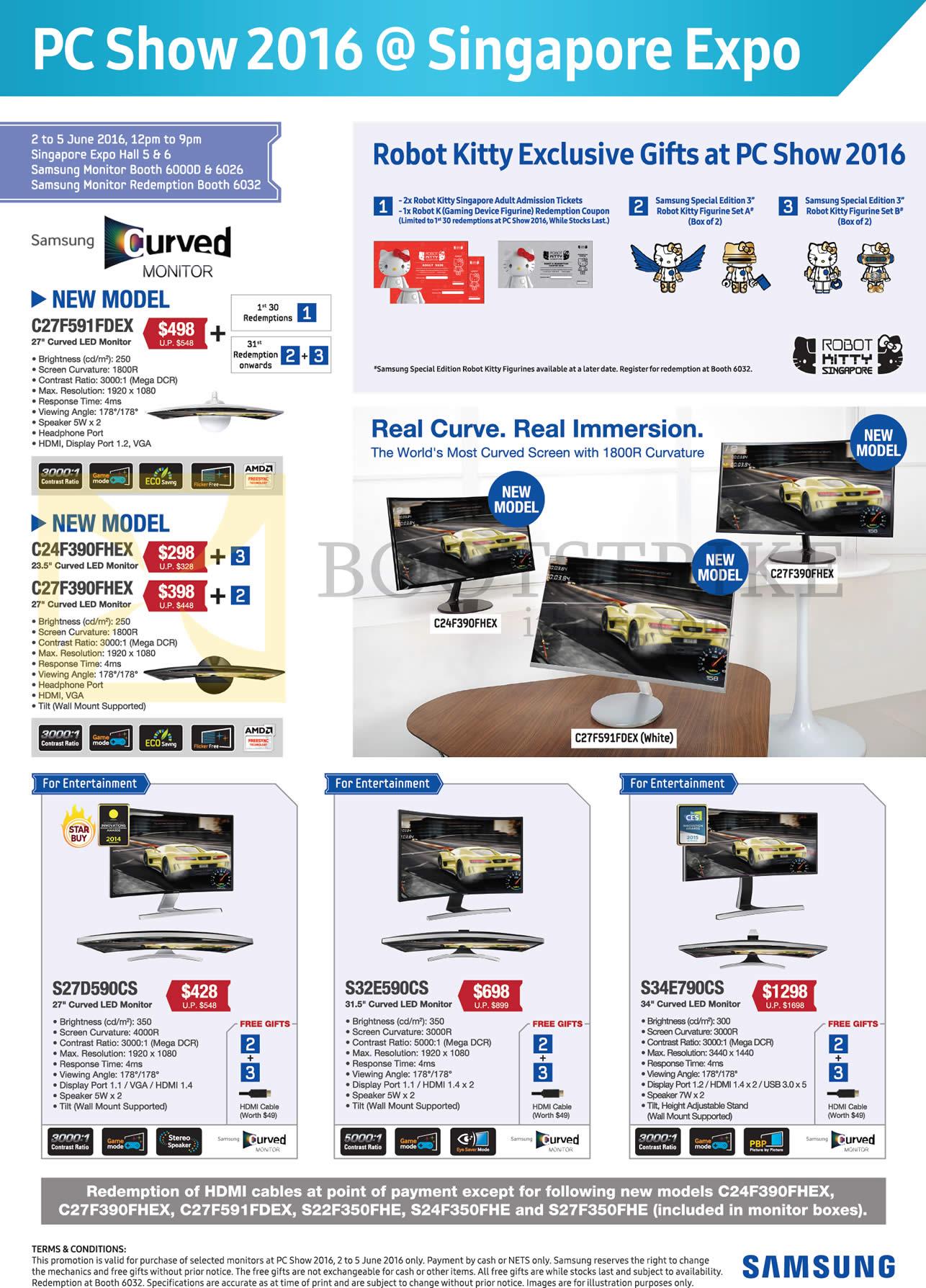 PC SHOW 2016 price list image brochure of Samsung Monitors, Hello Robot Kitty Gifts, C27F591FDEX, C24F390FHEX, C27F390FHEX, S27D590CS, S32E590CS, S34E790CS
