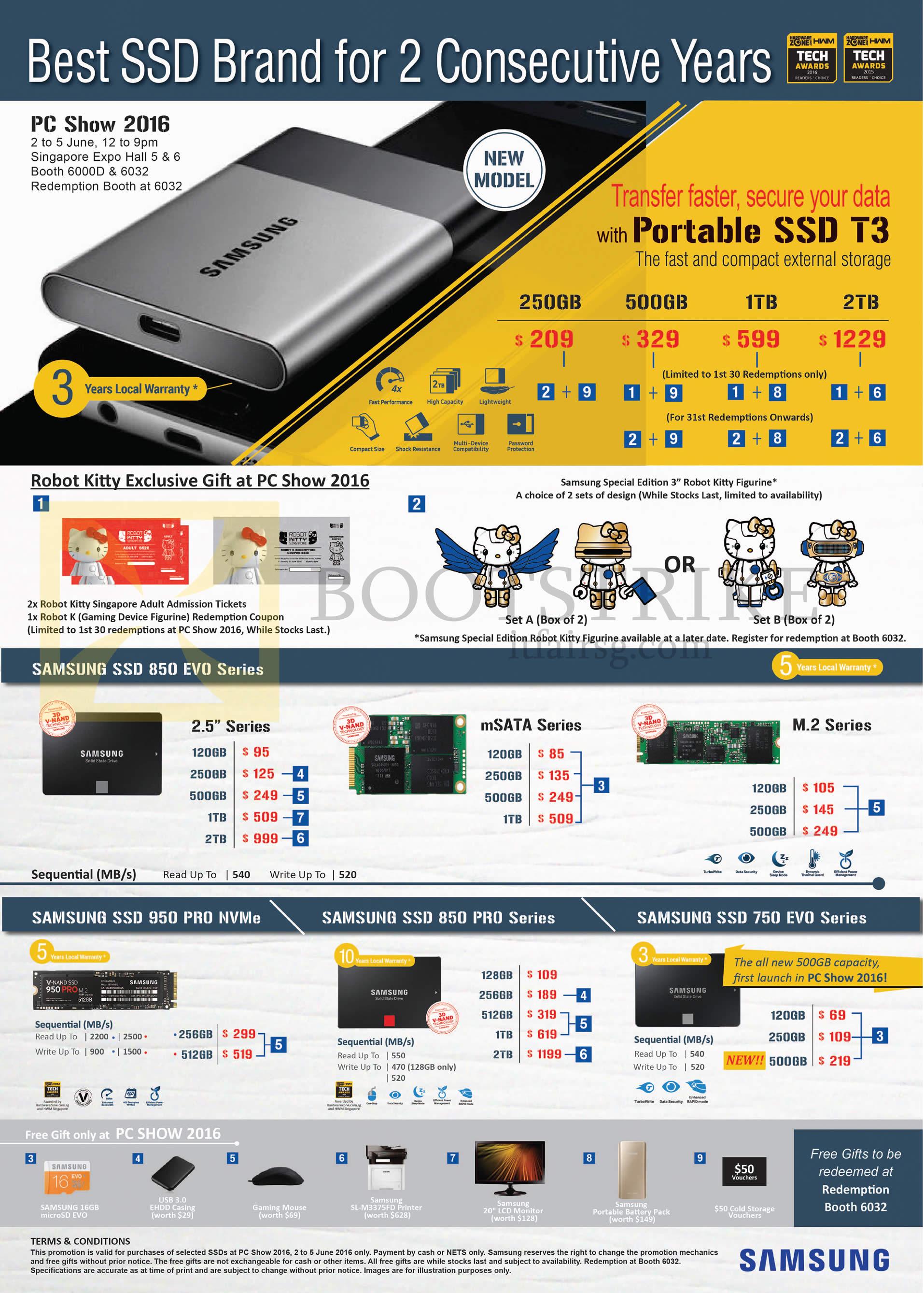 PC SHOW 2016 price list image brochure of Samsung SSDs Storage, Robot Kitty, T3 Portable, 850 Evo, 950 Pro NVMe, 850 Pro, 750 Evo Series, 120GB, 250GB, 500GB, 256GB, 512GB, 1TB, 2TB