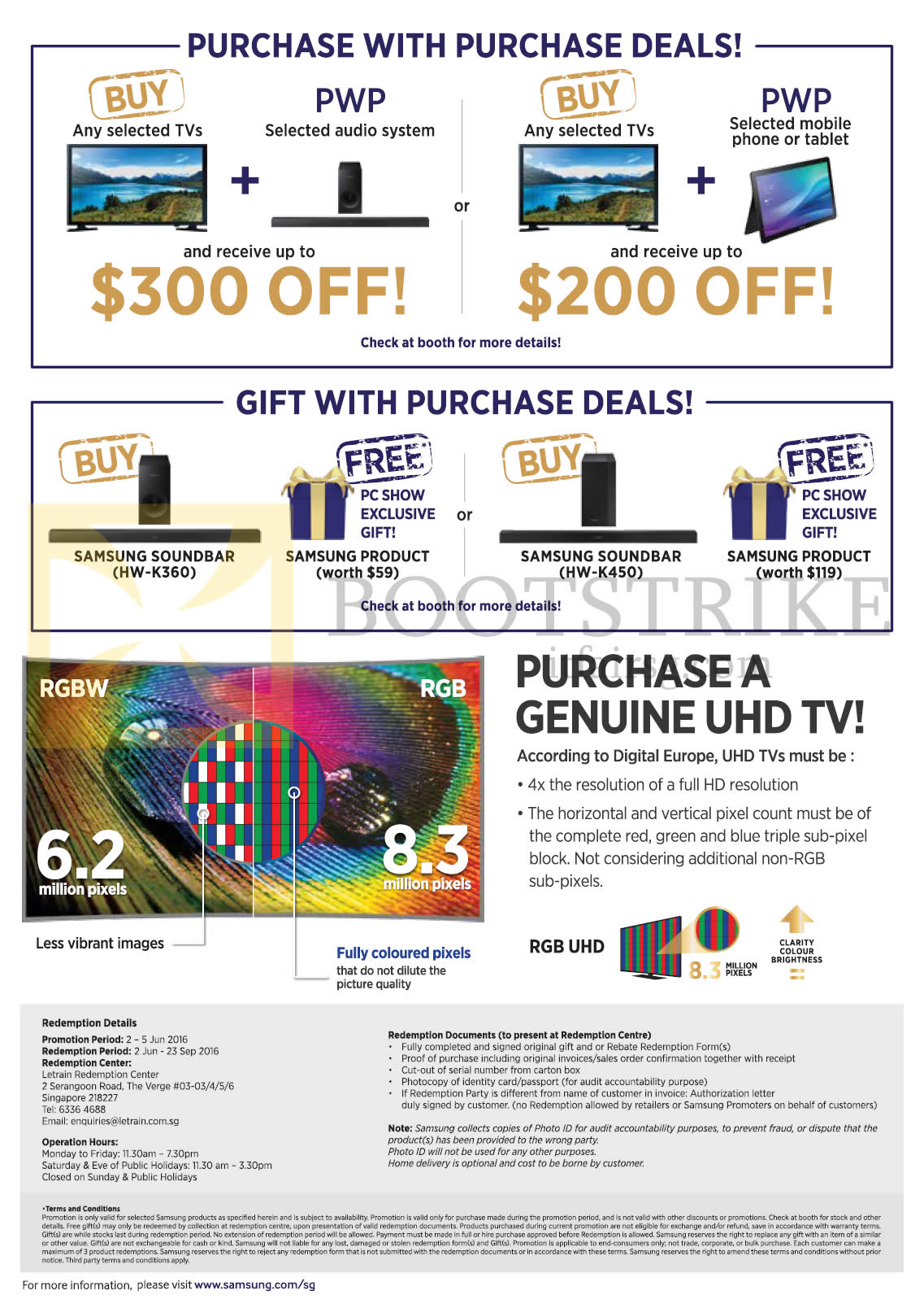 PC SHOW 2016 price list image brochure of Samsung TVs (No Prices) Purchase With Purchase Deals, Gift With Purchase Deals