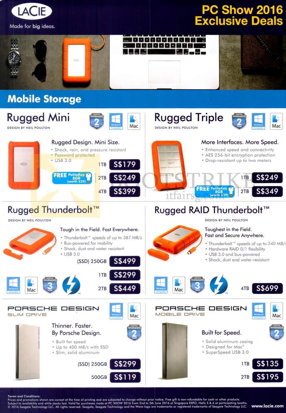 PC SHOW 2016 price list image brochure of Seagate Lacie Mobile Storage Rugged Mini, Triple, Thunderbolt, RAID Thunderbolt, Porsche Design Slim, Mobile Drive