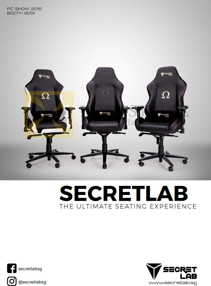 PC SHOW 2016 price list image brochure of Secret Lab Chairs Cover