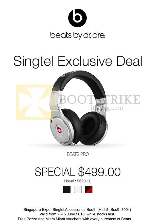PC SHOW 2016 price list image brochure of Singtel Accessories Beats By Dr. Dre Beats Pro Headphones