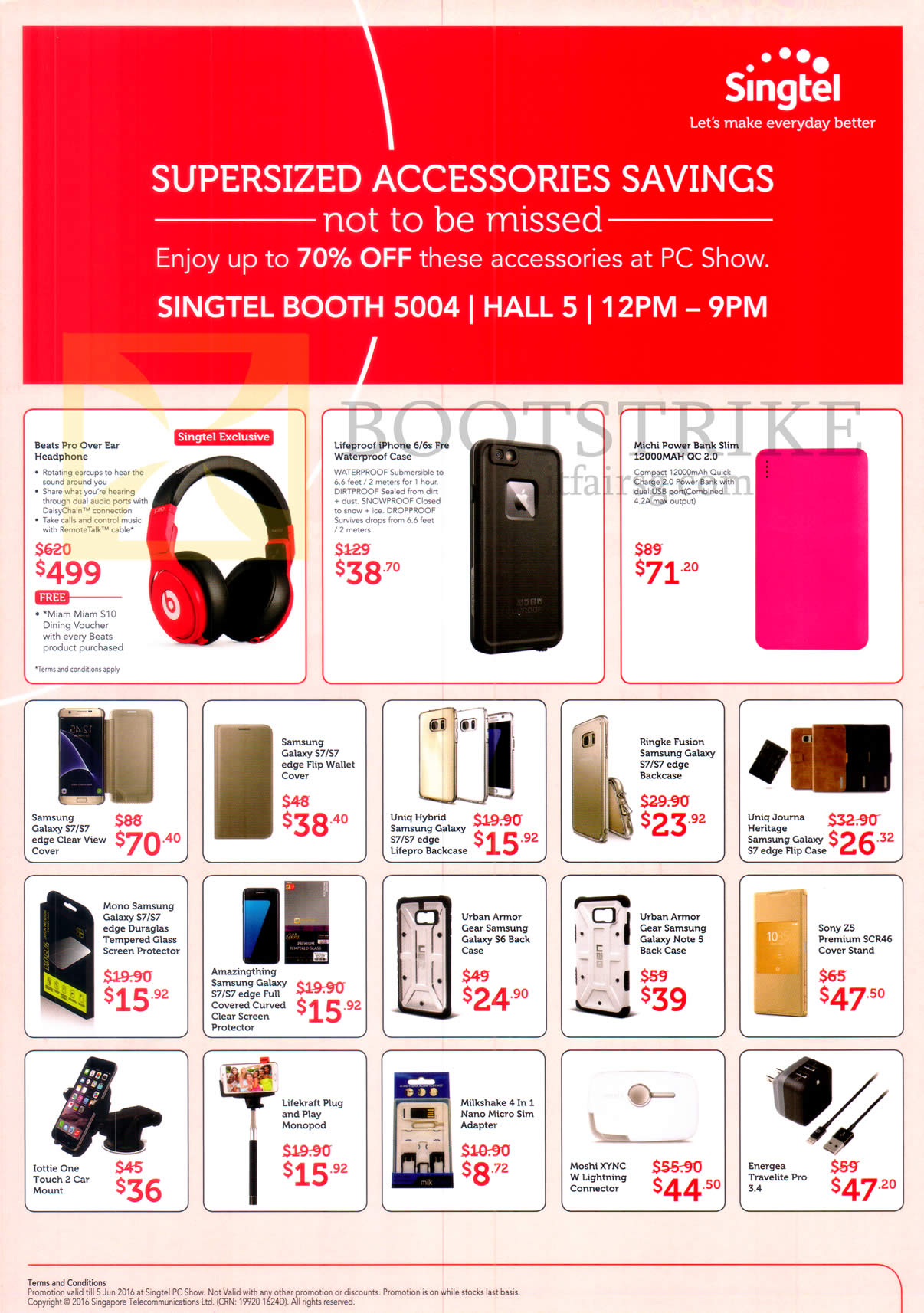 PC SHOW 2016 price list image brochure of Singtel Mobile Phone Accessories Beats Pro Over Ear, Lifgeprood, Michi Powerbank, Clear View Cover, Back Case, Flip Case, Screen Protector, Sim Adapter