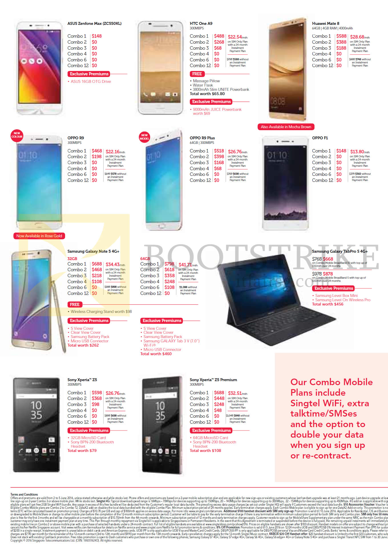 PC SHOW 2016 price list image brochure of Singtel Mobile Phones Asus Zenfone Max ZC550KL, HTC One A9, Huawei Mate 8, Oppo R9, R9 Plus, F1, Samsung Galaxy Note 5, TabPro S, Sony Xperia Z5, Z5 Premium