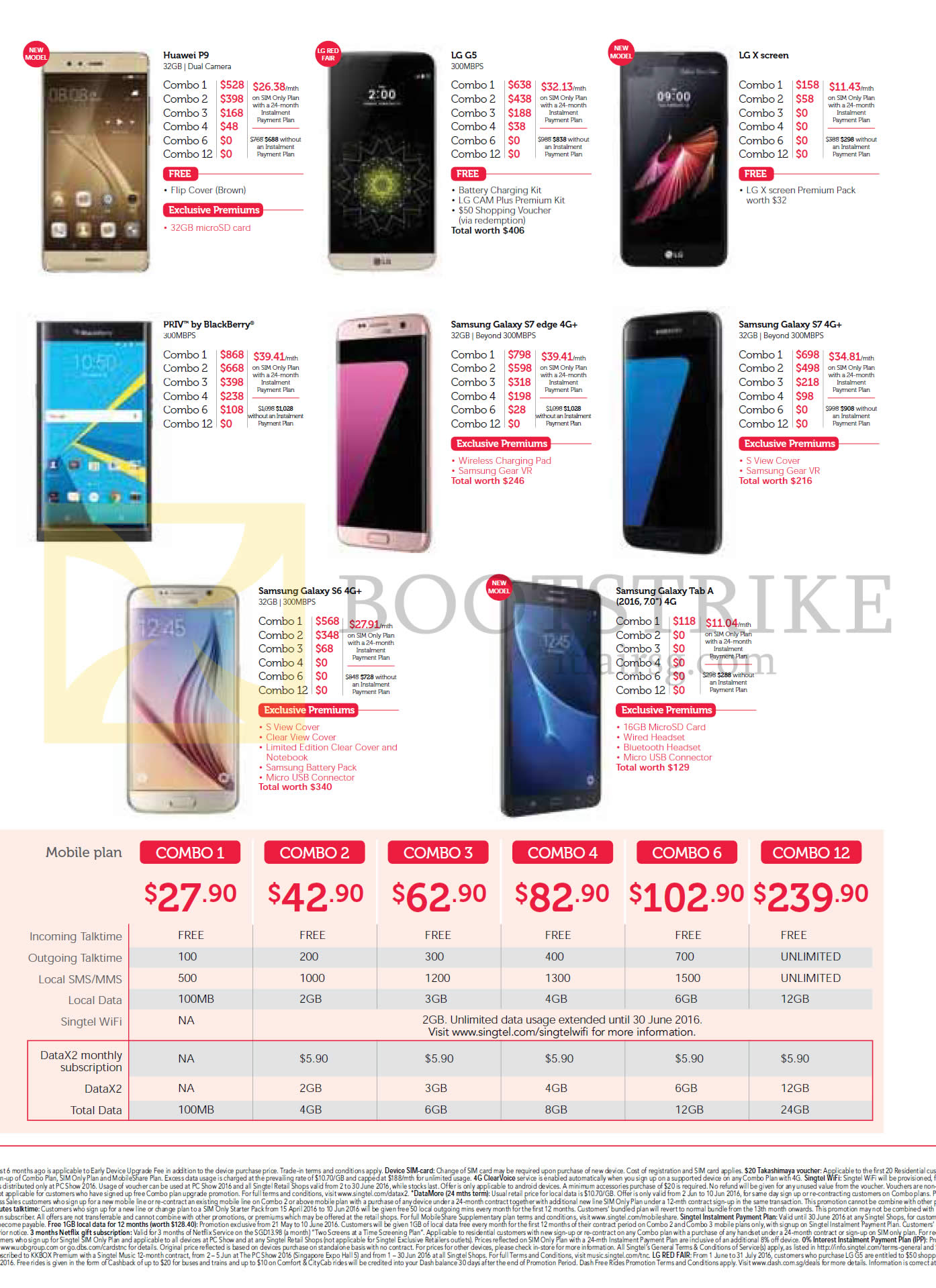 PC SHOW 2016 price list image brochure of Singtel Mobile Phones, Combo Plans, Huawei P9, LG G5, X Screen, Blackberry Priv, Samsung Galaxy Z7 Edge, S7, S6, Tab A 2016 7.0, Combo 1, 2, 3, 4, 6, 12