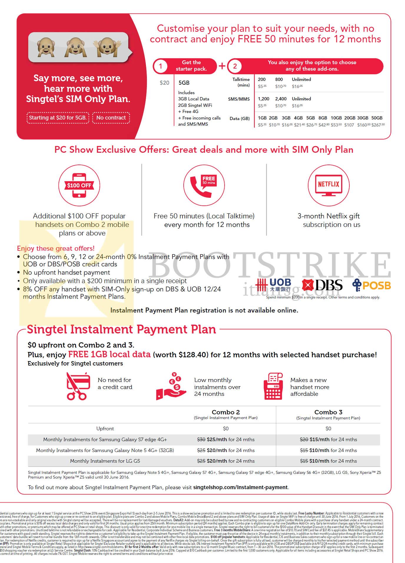 PC SHOW 2016 price list image brochure of Singtel Mobile SIM Only Plans, Instalment Payment Plans, Combo 2, 3