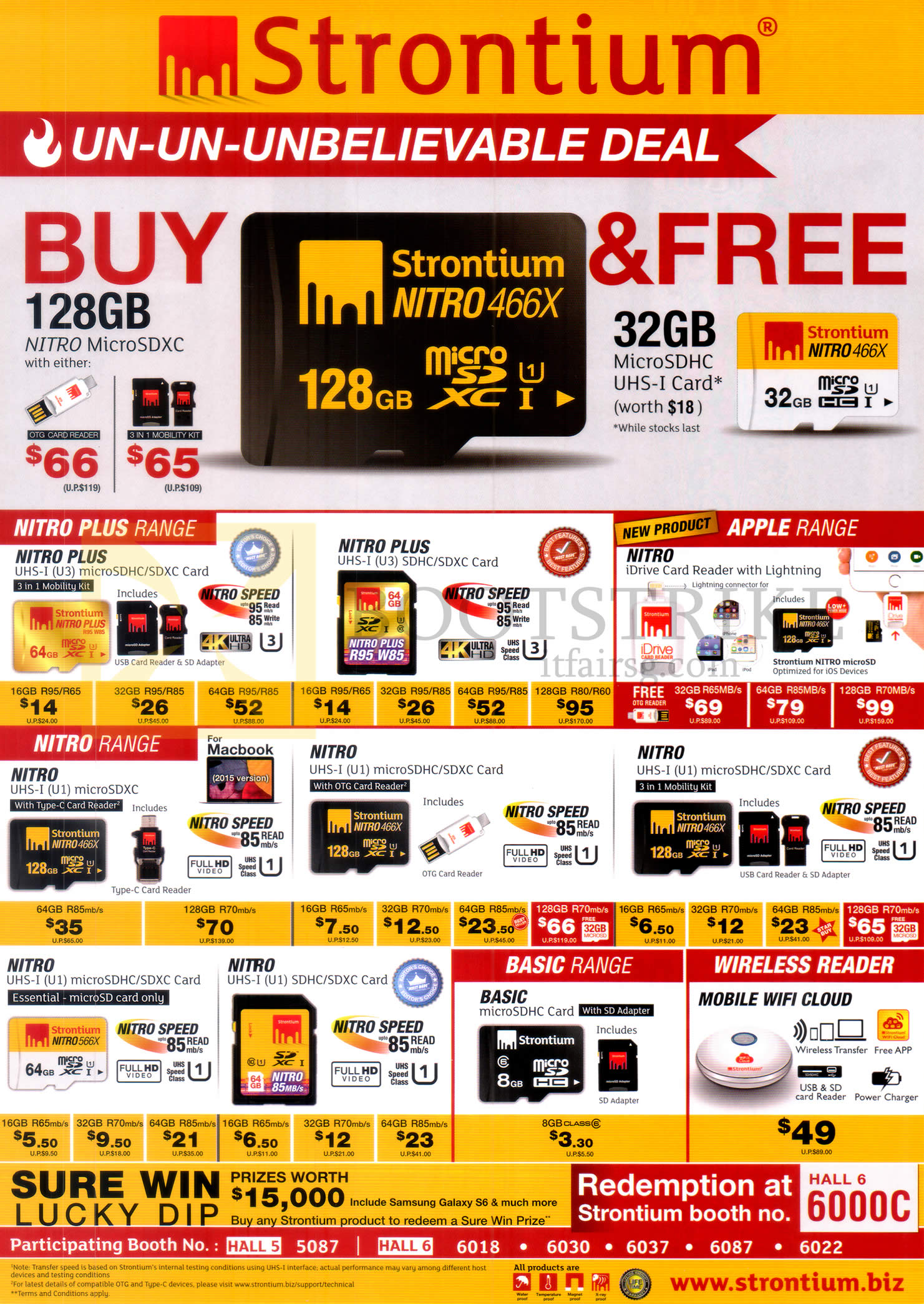PC SHOW 2016 price list image brochure of Strontium SD Cards Nitro Plus, Apple, Nitro, Basic Range, Wireless Reader