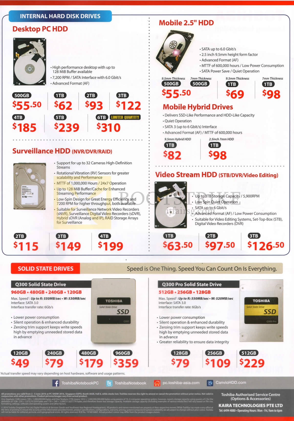 PC SHOW 2016 price list image brochure of Toshiba Internal Hard Disk Drives, Solid State Drives Desktop PC HDD, Mobile 2.5 HDD, Surveillance HDD, Video Stream HDD, Q300 Solid State Drive, Q300 Pro Solid State Drive