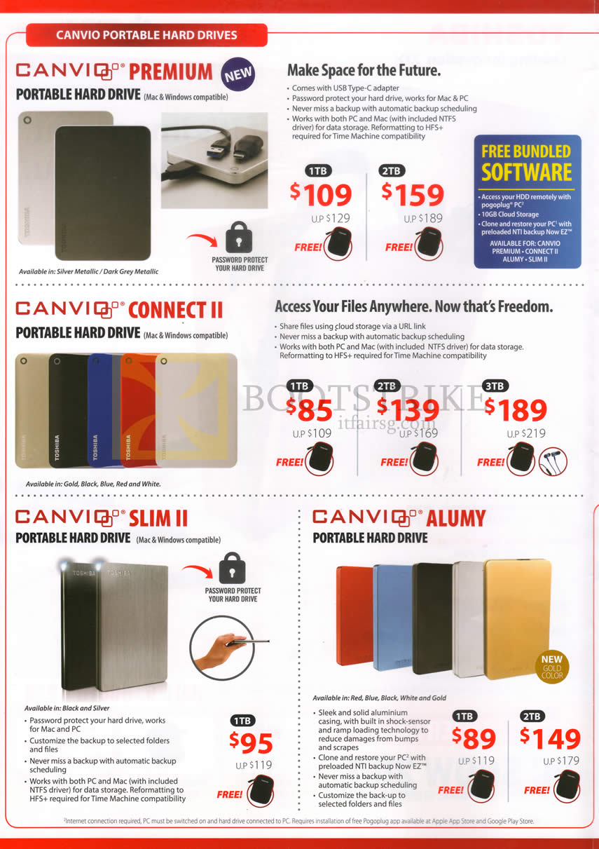 PC SHOW 2016 price list image brochure of Toshiba Portable Hard Drives Canvio Premium, Canvio Connect II, Canviq Slim II, Canvio Alumy, 1TB 2TB 3TB